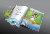 14228474-fairytale-book-with-little-frog-and-fairy-in-the-rain-reflected-in-the-pond