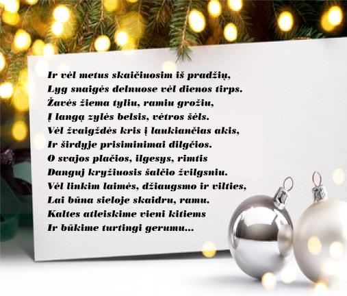 sveikinimas su Kalėdomis ir Naujais metais